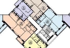 Схема типовой планировки этажа для второй секции.